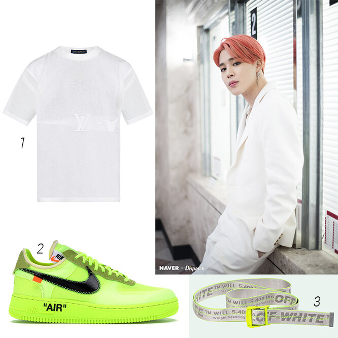 1 - Louis Vuitton Prism Logo Intarsia Tshirt; 2 - Nike x Off-White  Air force 1 low volt; 3 - Off-White industrial belt