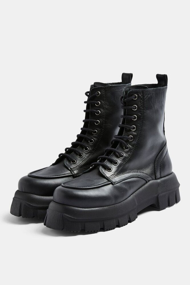 AVA Black Leather Chunky Lace Up Boots