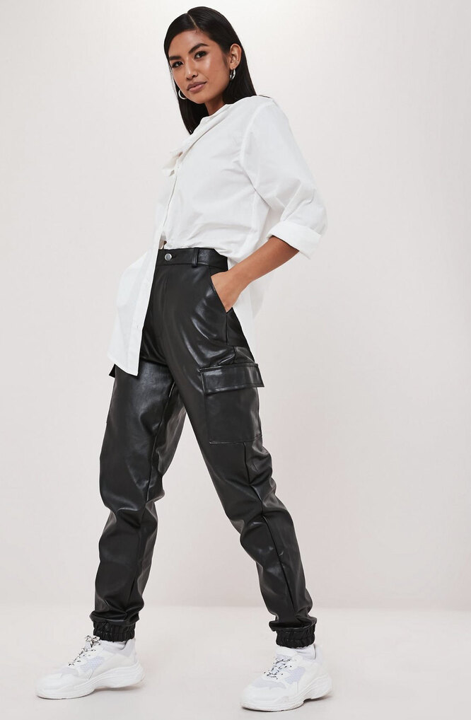 black faux leather cargo trousers