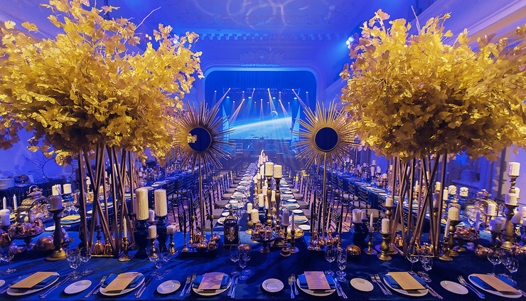Gold And Blue Dinner. Декор: LID'S EVENTHOUSE